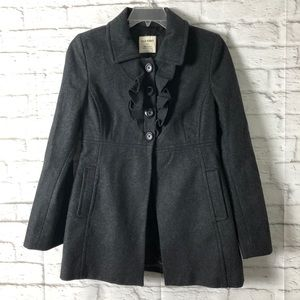 OLD NAVY Medium Womens Wool Coat Gray Ruffles
